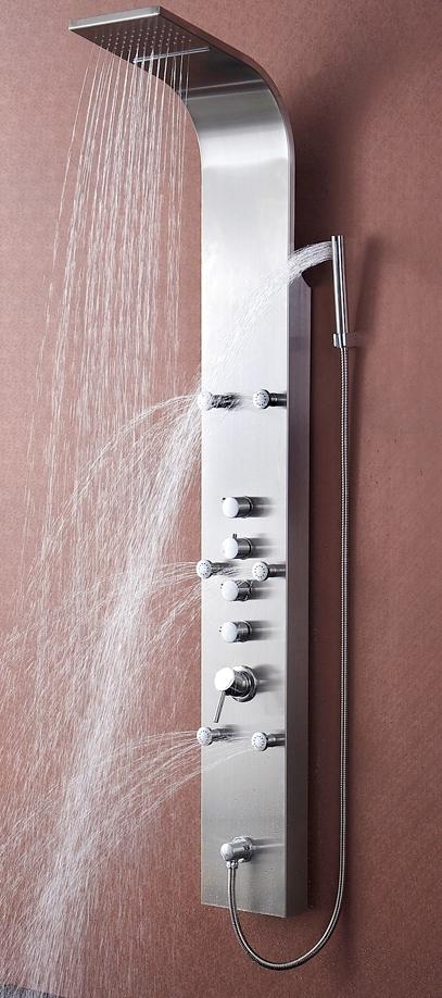 edelstahl duschpaneel inklusive thermostat wasserfall ebay. Black Bedroom Furniture Sets. Home Design Ideas
