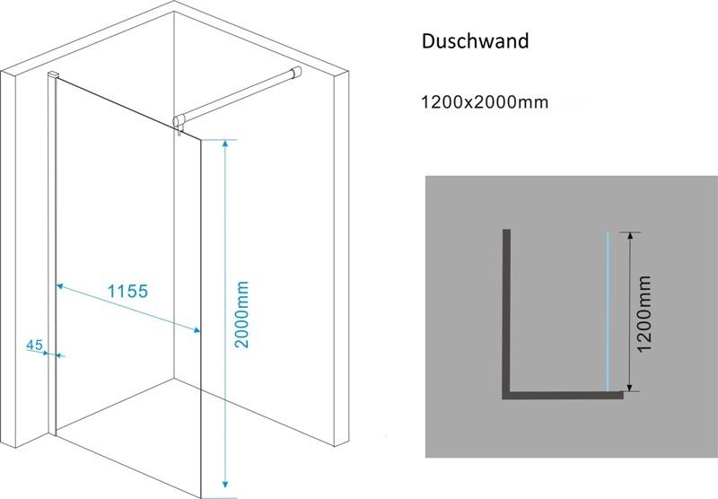 walk in seitenwand duschwand dusche nische 120 cm ebay. Black Bedroom Furniture Sets. Home Design Ideas